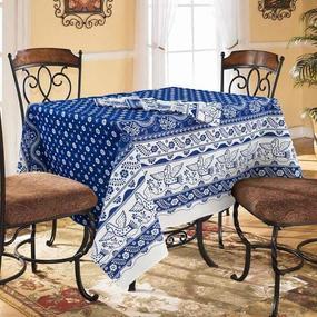 Столовый набор 4779/1 Птички синие скатерть полулен 150/220 + 6 салфеток фото