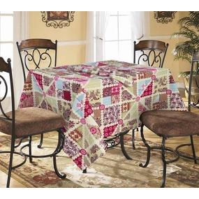 Столовый набор 4939/1 Пэчворк красный скатерть полулен 150/150+ 6 салфеток фото