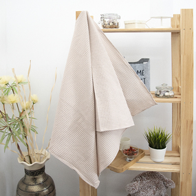 Полотенце вафельное банное Премиум 150/75 см цвет 808 пыльная роза фото