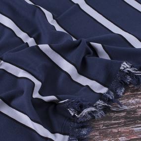 Ткань на отрез кашкорсе полоса синий фото