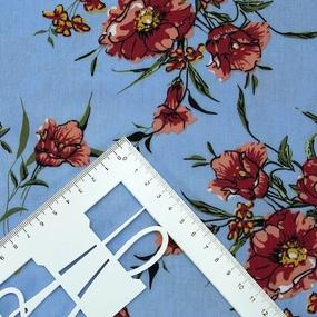 Ткань на отрез штапель К01 Цветы на голубом фото