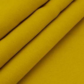 Ткань на отрез футер 3-х нитка компакт пенье начес цвет горчичный фото