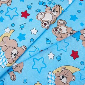 Бязь ГОСТ детская 150 см 350/1 Мишки цвет голубой фото