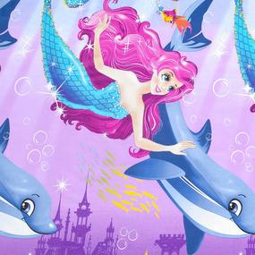 Поплин 220 см 115 г/м2 12080/1 Дельфин и русалка основа фото