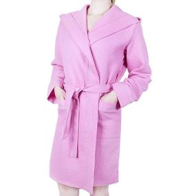 Халат женский вафельный с капюшоном розовый премиум р 44 фото
