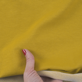 Ткань на отрез футер петля с лайкрой цвет Горчичный фото