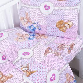 Постельное белье в детскую кроватку 8257/1 Пуговка с простыней на резинке фото