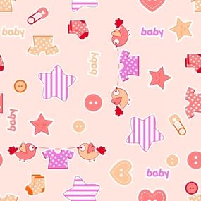 Ткань на отрез фланель 75 см 7065/2 Малышок цвет персик фото