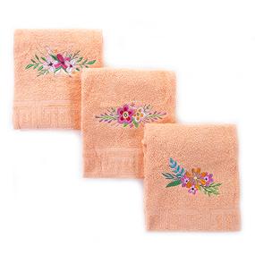Махровое полотенце с вышивкой Цветы 40/70 см цвет персиковый фото