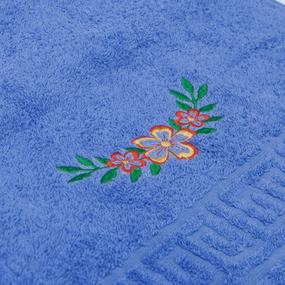 Махровое полотенце с вышивкой Цветы 40/70 см цвет синий фото