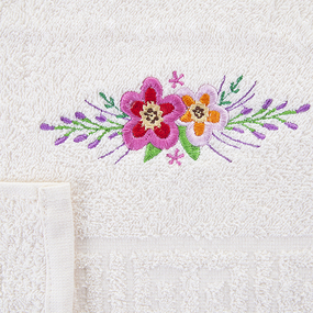 Махровое полотенце с вышивкой Цветы 40/70 см цвет шампань фото