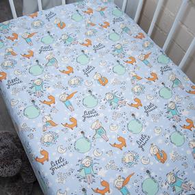 Простыня на резинке поплин детский 2092 Маленький принц 60/120/12 см фото