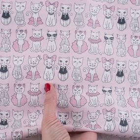 Ткань на отрез бязь ГОСТ Шуя 150 см 9949/1 Котики цвет персиковый фото