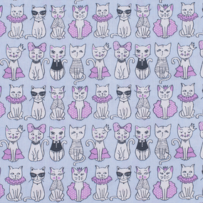 Ткань на отрез бязь ГОСТ Шуя 150 см 9949/2 Котики цвет голубой фото