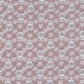 Ткань на отрез бязь ГОСТ Шуя 150 см 9946/4 Совушки цвет кофе фото