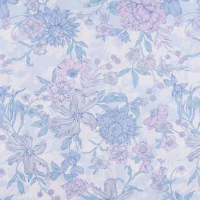 Ткань на отрез бязь ГОСТ Шуя 150 см 9913/2 Цветы голубые фото