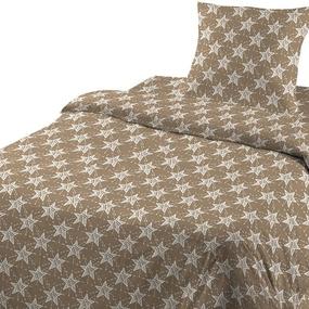 Ткань на отрез бязь ГОСТ Шуя 150 см 9947/4 Звезды цвет кофе фото