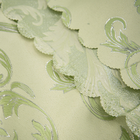 Портьерная ткань с люрексом 150 см на отрез Х7187 цвет салатовый вензель фото