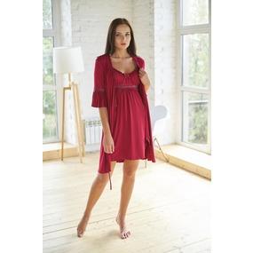 Комплект халат+ сорочка 0060 цвет Бордо р 48 фото