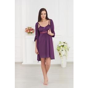 Комплект халат+ сорочка 0060 цвет Баклажан р 42 фото