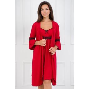 Комплект халат+сорочка 0060-05 цвет Красный р 42 фото