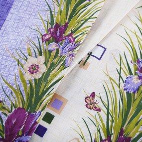 Постельное белье из бязи ГОСТ 134/1 Ирисы фиолетовый 1.5 сп с 1-ой нав. 70/70 фото