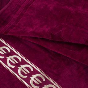 Полотенце велюровое Европа 70/130 см цвет бордовый с евро фото