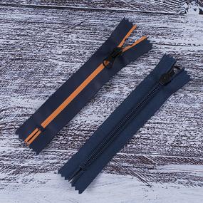 Молния водостойкая №7В5 полоса матовый н/р 16см темно синий 058/оранж 006 фото