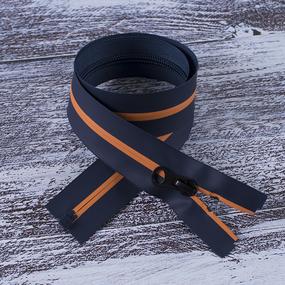 Молния водостойкая №7В5 полоса матовый разъем 60см темно синий 058/оранж 006 фото