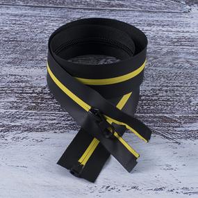 Молния водостойкая №7В5 полоса матовый разъем 60см черный/желтый 001 фото