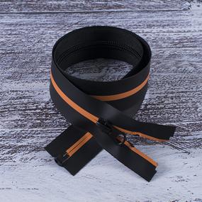 Молния водостойкая №7В5 полоса матовый разъем 60см черный/оранж 006 фото