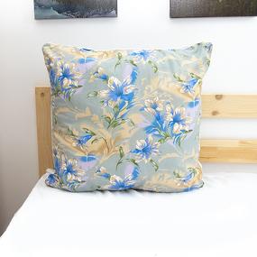 Подушка Лебяжий пух Лилии 004 цвет синий 60/60 фото
