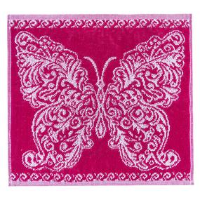 Салфетка махровая 3878 Бабочка ажурная 30/30 см цвет малина фото