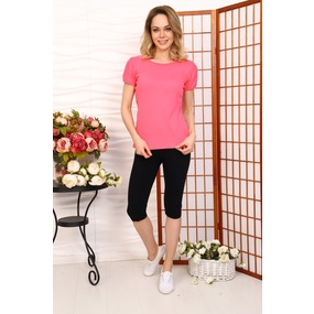 Костюм домашний футболка+леггинсы розовый+черный Г24 р 60 фото