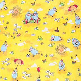 Мерный лоскут бязь ГОСТ детская 150 см 317/4 Овечки цвет жёлтый фото