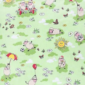 Мерный лоскут бязь ГОСТ детская 150 см 317/3 Овечки цвет зелёный фото
