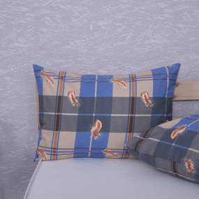 Наволочка Бязь 152/1 Перья синие в упаковке 2 шт 50/70 см фото