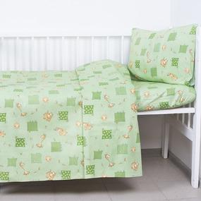 Постельное белье в детскую кроватку из бязи 120гр/м2 с нав.40/60 366/2 Жирафики цвет зеленый (Б) фото