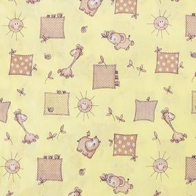 Постельное белье в детскую кроватку из бязи 120гр/м2 с нав.40/60 366/4 Жирафики цвет желтый (Б) фото