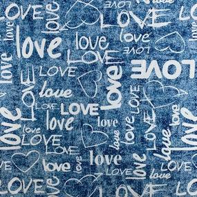 Ткань на отрез кулирка R3144-V1 Love цвет голубой фото
