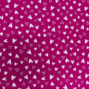 Ткань на отрез кулирка R2036-V1 Сердечки цвет ярко-розовый фото