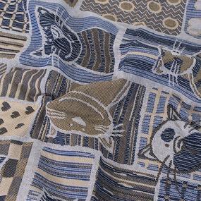 Покрывало гобелен детское Коты синий 125/150 фото