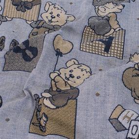 Покрывало гобелен детское Мишки синий 125/150 фото