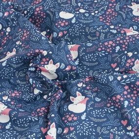 Простынь бязь детская 7247/2 Лисички цвет синий 110/150 см фото