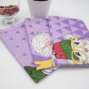 Набор вафельных полотенец 3 шт 50/60 см 3028-4 Мышиный король фото