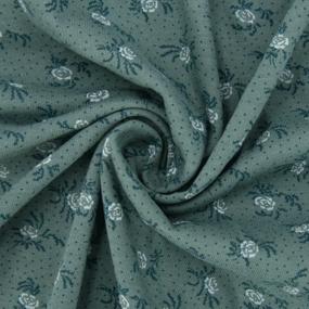 Ткань на отрез кулирка 2351-V7 Цветы на зеленом фото