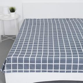 Простыня поплин 28254/1 Клетка серый основа 1.5 сп фото