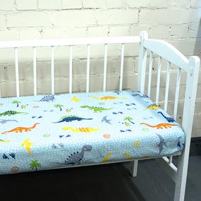 Простынь бязь детская 464-1 Дино голубой 110/150 фото