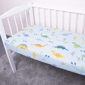 Постельное белье в детскую кроватку из бязи 464-1 Дино голубой фото