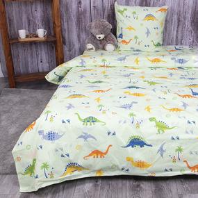 Детское постельное белье из бязи 1.5 сп 464-2 Дино салатовый 1 зел с 1-ой нав. 70/70 фото